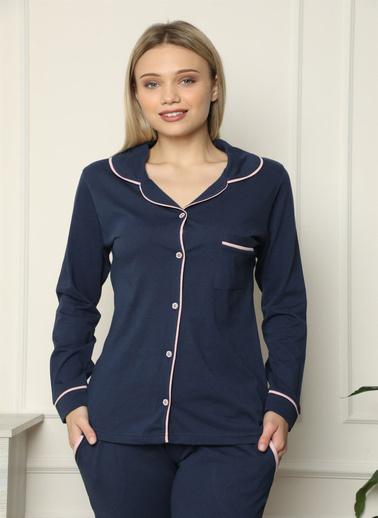 Akbeniz Kadın %100 Pamuk Penye Önden Düğmeli Uzun Kol Pijama Takım 2713 Lacivert
